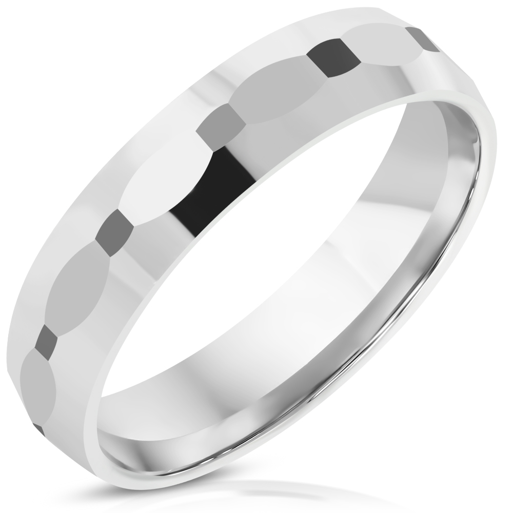 4mm | Tungsten Carbide Oval Faceted Comfort Fit Half-Round Band Ring - RTN433